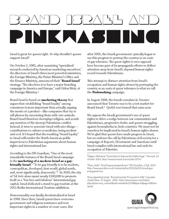 Brand Israel and Pink washing flier